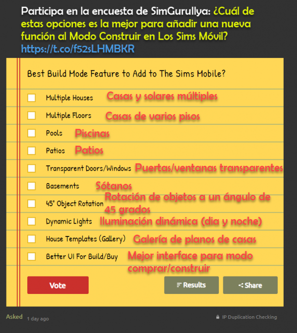 7 de Octubre 2019 – Participa en la encuesta de SimGuruIlya para elegir nuevas funciones en el modo comprar de Los Sims Móvil.