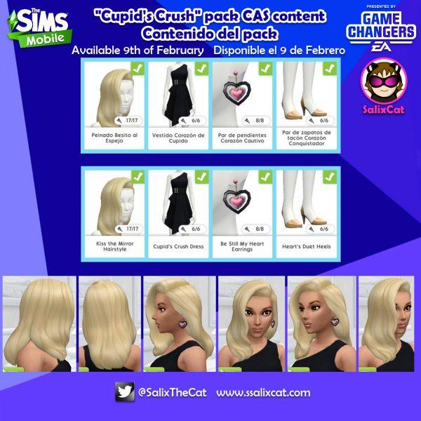 9 de Febrero 2020 – Contenido de packs – «Cupid Crush» and «Lucky in love», packs CAS content
