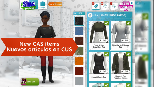 14th of December 2020 – The Sims Mobile – New CAS Items
